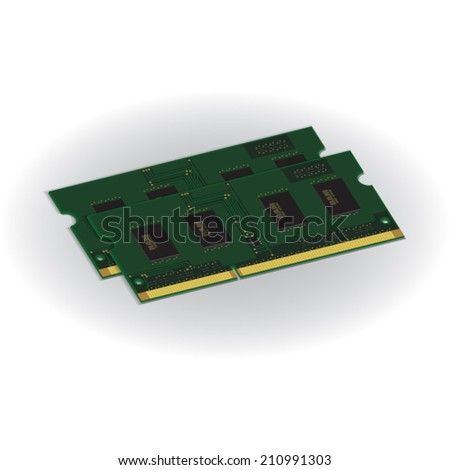 Laptop Computer RAM (Random-Access Memory) Chip Isolated on White Background. RAM Memory Module. Vector Illustration.