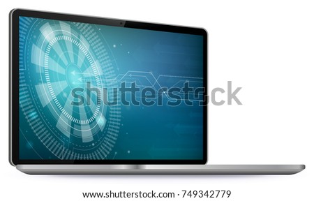 Laptop Computer Screen With Technology Wallpaper Vector Illustration Isolated On White