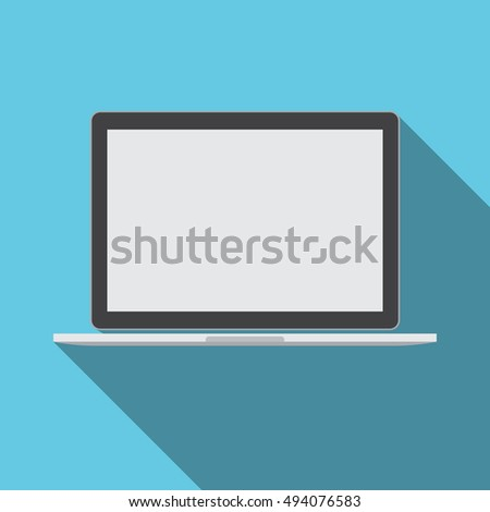 Laptop Computer With Empty Screen Technology Icon Vector Illustration