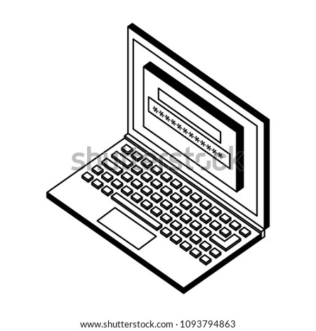 Laptop Computer Login Password Isometric Icon Stock Vector
