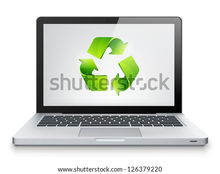 Laptop Concept Isolated on White Background. Vector EPS 10. - stock vector