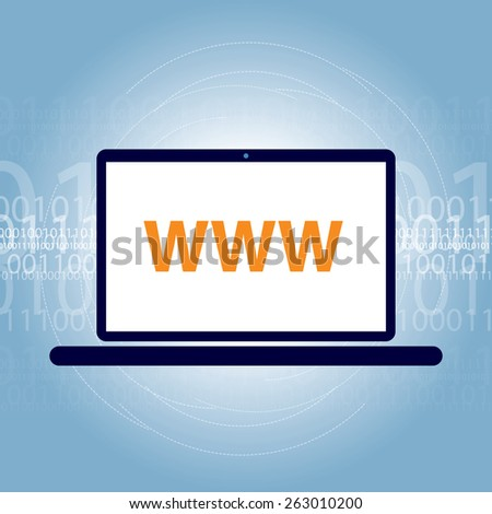 Laptop design www on screen and binary code in the background - stock vector