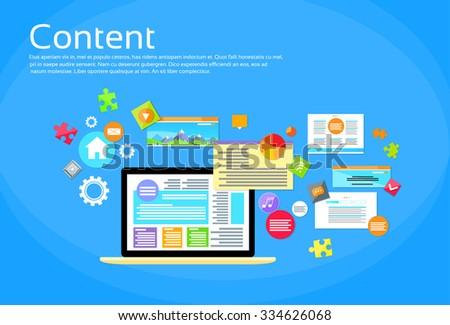 Laptop Digital Content Web Site Page Design Flat Vector Illustration - stock vector