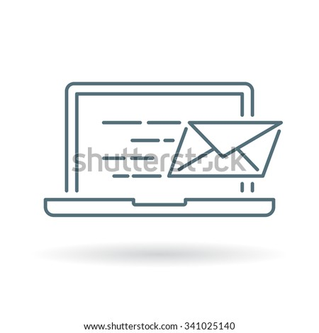 Laptop email send icon. Laptop email send sign. Laptop email send symbol. Thin line icon on white background. Vector illustration. - stock vector