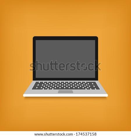 laptop flat design style icon. vector illustration - stock vector
