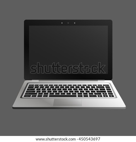 laptop flat mockup in front view. Minimal flat design for websites, business, marketing, and commercial. Portable computer icon on grey background. Isolated laptop with black buttons and dark screen.