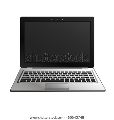 laptop flat mockup in front view. Minimal flat design for websites, business, marketing, and commercial. Portable computer icon on white background. Isolated laptop with black buttons and dark screen
