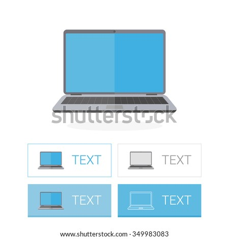 Laptop icon flat illustration with buttons
