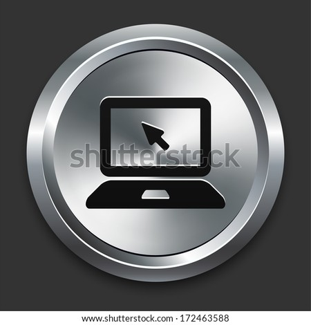 Laptop Icon on Metallic Button Collection - stock vector