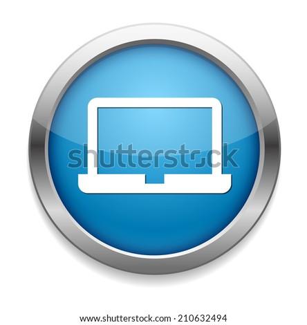 Laptop Icon on Round Button - stock vector