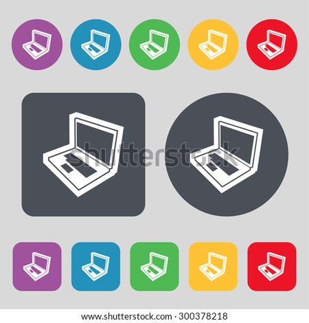 Laptop icon sign. A set of 12 colored buttons. Flat design. Vector illustration - stock vector
