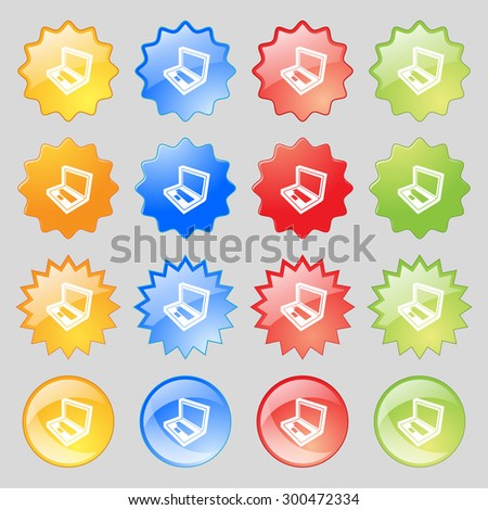 Laptop icon sign. Big set of 16 colorful modern buttons for your design. Vector illustration - stock vector