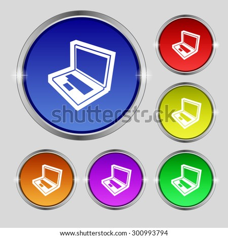 Laptop icon sign. Round symbol on bright colourful buttons. Vector illustration - stock vector