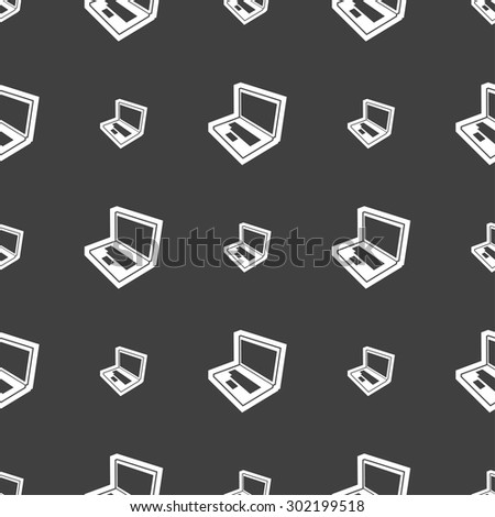 Laptop icon sign. Seamless pattern on a gray background. Vector illustration - stock vector