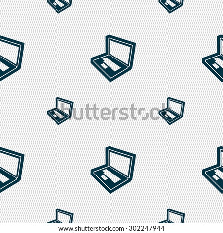 Laptop icon sign. Seamless pattern with geometric texture. Vector illustration - stock vector