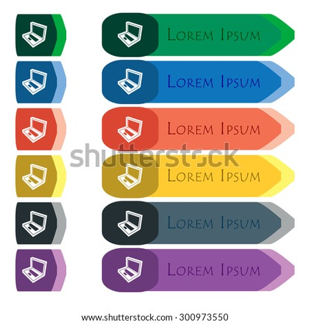 Laptop icon sign. Set of colorful, bright long buttons with additional small modules. Flat design. Vector - stock vector