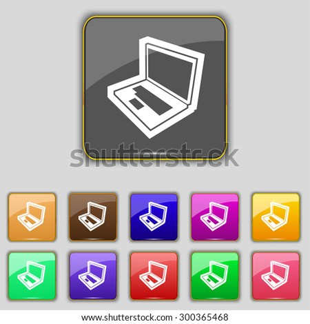 Laptop icon sign. Set with eleven colored buttons for your site. Vector illustration - stock vector