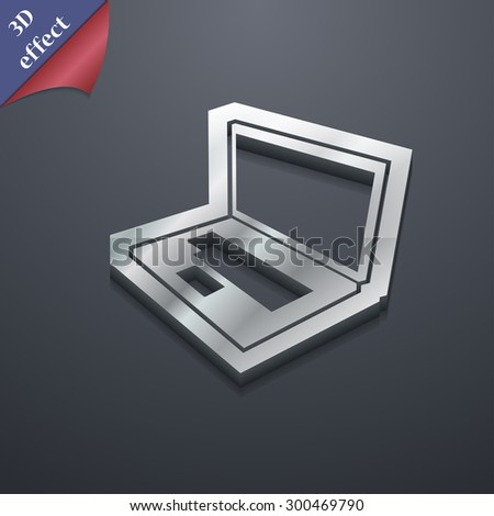 Laptop icon symbol. 3D style. Trendy, modern design with space for your text Vector illustration - stock vector