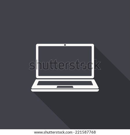laptop icon , vector illustration, flat design - stock vector