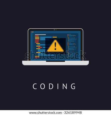 Laptop icon with coding error message. Flat design. Vector illustration. Web developer coding concept. - stock vector