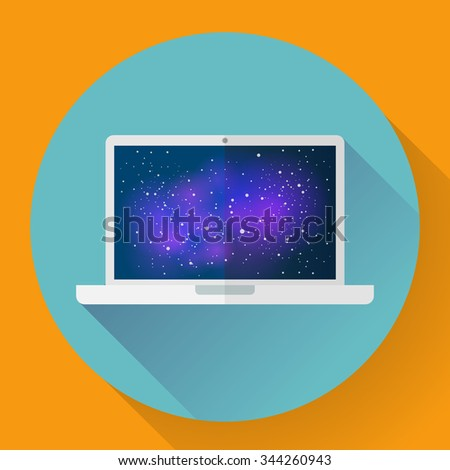 Laptop icon with space image, vector illustration. Flat style