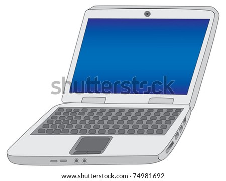 laptop isolated on white vector illustration