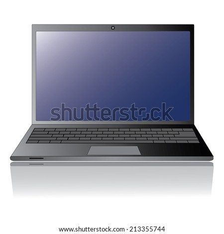 Laptop isolation with blank display - stock vector