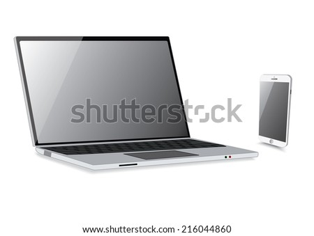 Laptop isolation with smartphone isolate. Vector - stock vector