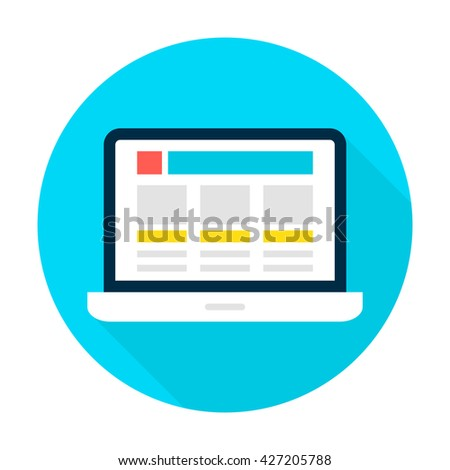 Laptop Landing Page Circle Icon. Vector Illustration Flat Style Round Icon with Long Shadow. Electronic Gadget. - stock vector