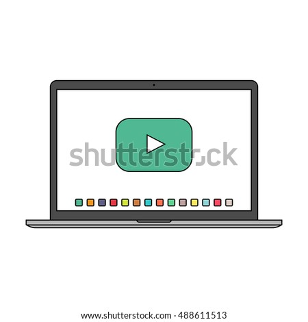 laptop macbook icon in the style thin line flat design isolated on white background. stock vector illustration eps10