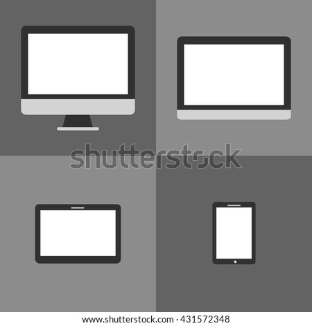 Laptop, mobile phone, tablet and monitor icon set - stock vector