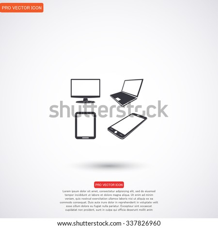 Laptop, mobile phone, tablet and monitor icon set, Vector  Eps 1 - stock vector