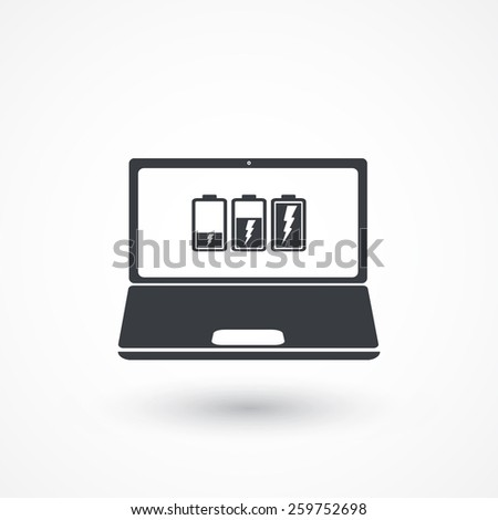 Laptop Notebook Battery Power - stock vector
