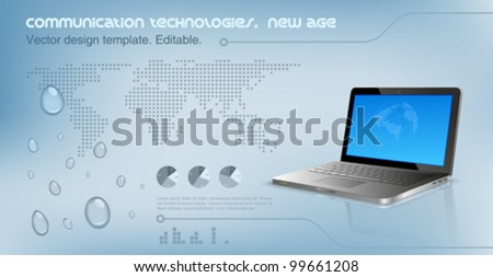 Laptop on the glossy hi-tech background.  World map on the background. Future technology concept. Design template. Vector. Editable. - stock vector