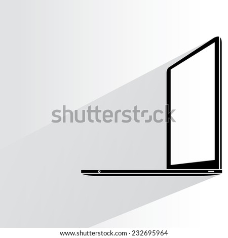 laptop on white background, flat and shadow theme - stock vector