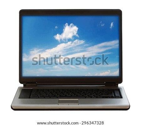 laptop on white background, vector