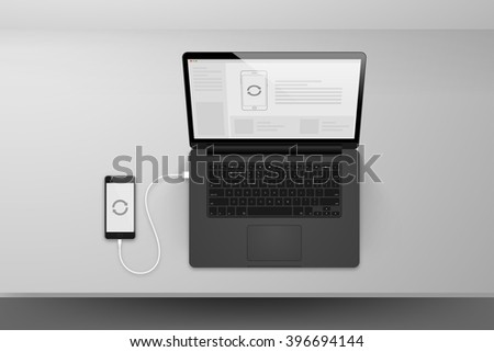 Laptop or notebook black design mock up sync data with smartphone by cable on table illustration - stock vector