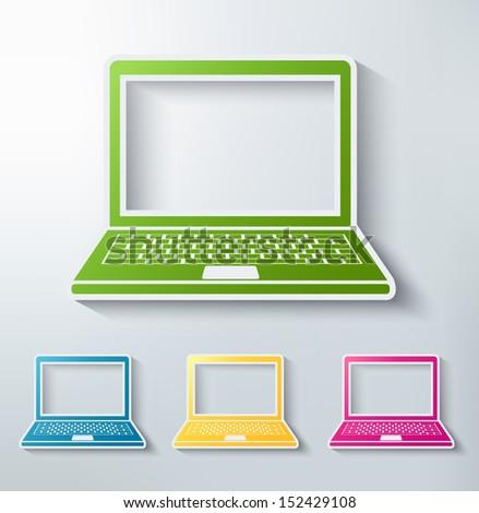 laptop paper sticker icon set - stock vector