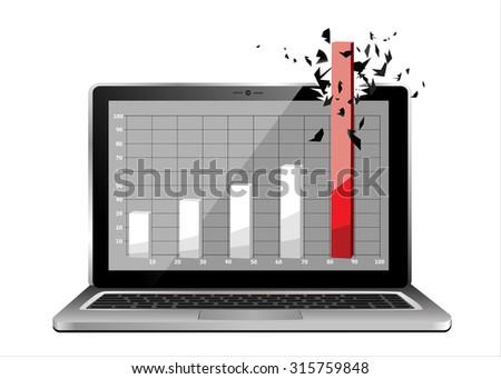 Laptop profit concept. Vector Illustration - stock vector