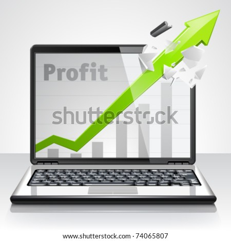Laptop profit concept. Vector Illustration - stock vector
