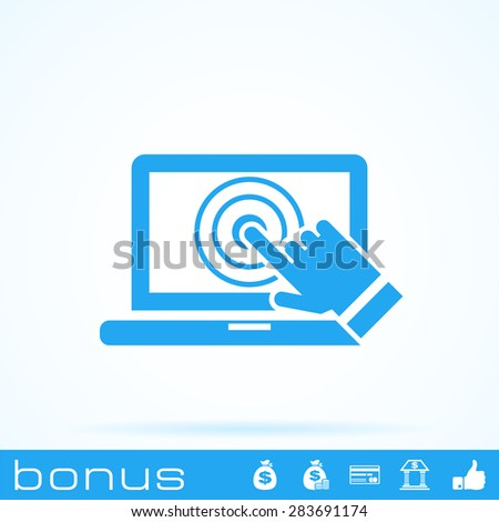 laptop screen touch icon - stock vector