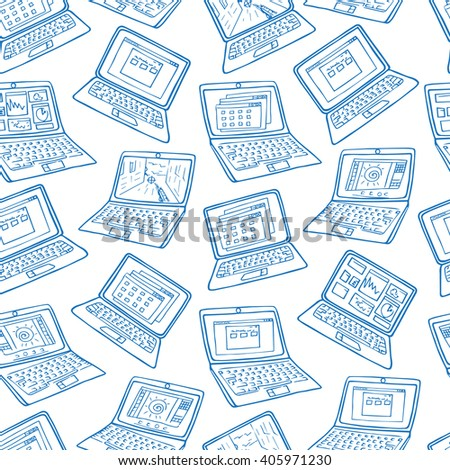 Laptop seamless vector pattern. Hand drawn notebook