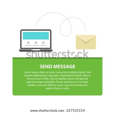 Laptop send message design concept, flat vector illustration - stock vector