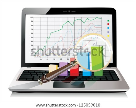 Laptop showing a magnifying glass spreadsheet  with some 3d charts over it