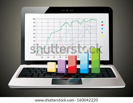 Laptop showing a spreadsheet with some 3d charts over it - stock vector