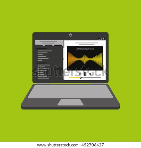 laptop showing a web icon, vector illustration