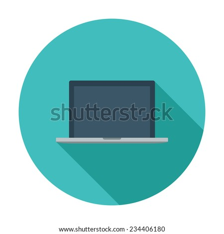 Laptop. Single flat color icon. Vector illustration. - stock vector