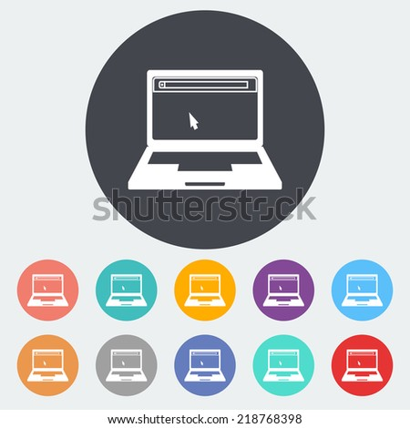 Laptop. Single flat icon on the circle. Vector illustration. - stock vector