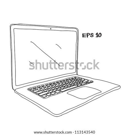 Laptop sketch vector illustration - stock vector