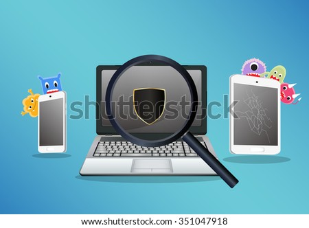 laptop smartphone and tablet scaning for find a virus computer - stock vector